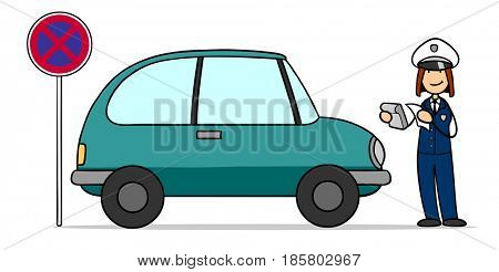 Cartoon of parked car on no stopping zone geting parking ticket