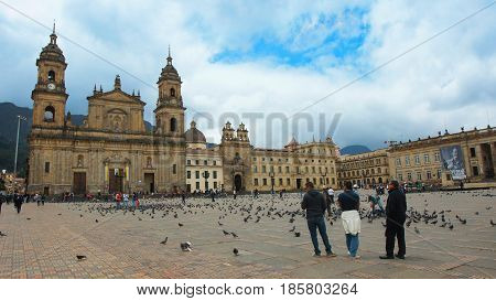 Bogota, Cundinamarca / Colombia - April 8 2016: Activity in the Bolivar plaza in the La Candelaria area in the downtown of the city of Bogota