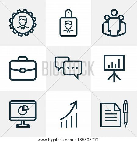 Job Outline Icons Set. Collection Of Manager, Conversation, Whiteboard And Other Elements. Also Includes Symbols Such As Manager, Analytics, Identification.