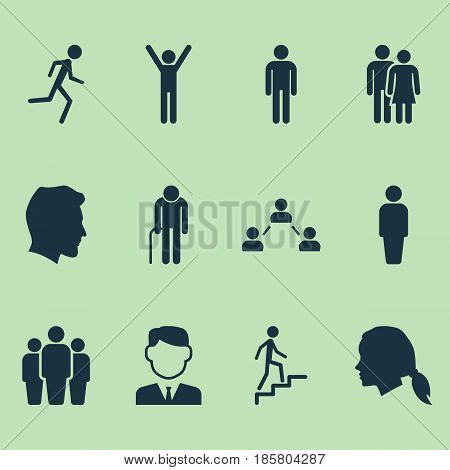 Person Icons Set. Collection Of Happy, Ladder, Gentleman And Other Elements. Also Includes Symbols Such As Businessman, Network, Gentlewoman.