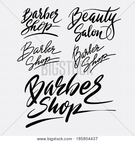 Barber shop hand written typography. Good use for logotype, symbol, cover label, product, brand, poster title or any graphic design you want. Easy to use or change color