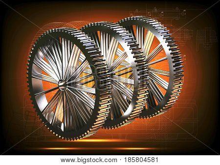 Silver cogwheels on an orange background. 3 d render
