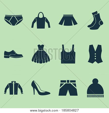 Garment Icons Set. Collection Of Trunks Cloth, Elegance, Heel Footwear And Other Elements. Also Includes Symbols Such As Hoodie, Beanie, Sundress.