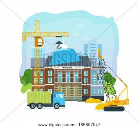 The process of building a university premises with the help of special equipment and transport a crane and a truck . Modern vector illustration isolated on white background.