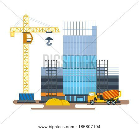 The process of building a hotel premises with the help of special equipment and transport a crane and a concrete mixer . Modern vector illustration isolated on white background.