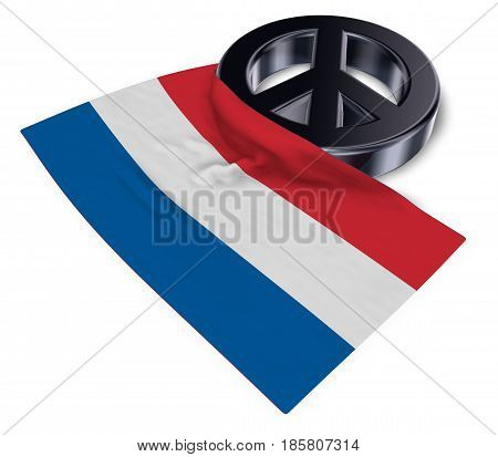 peace symbol and flag of the netherlands - 3d rendering