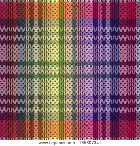 Knitting seamless vector pattern as a fabric texture with gradient mainly in purple and violet hues