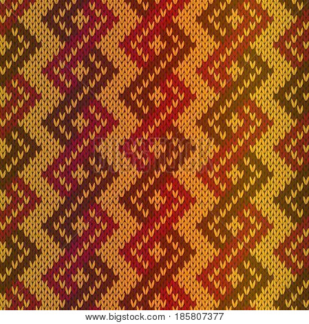 Knitting seamless vector pattern as a fabric texture with gradient mainly in red and orange hues