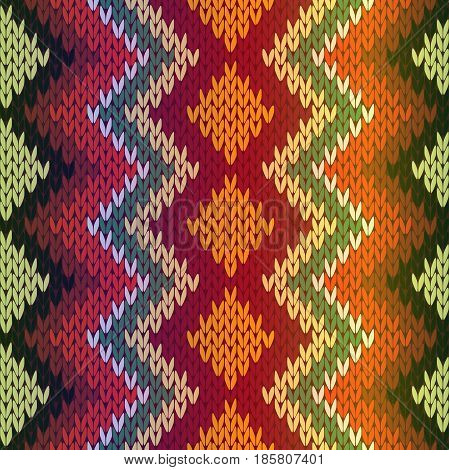 Knitting seamless vector pattern as a fabric texture with gradient mainly in green red beige and orange hues