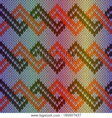 Knitting seamless multicolor vector pattern as a fabric texture