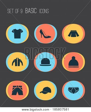 Clothes Icons Set. Collection Of Stylish Apparel, Briefs, Trilby And Other Elements. Also Includes Symbols Such As Trunks, Cardigan, Shorts.