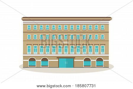 Building is modern hotel, with the surroundings and nearby city infrastructure, parks, nearby buildings. City building. Vector illustration isolated on white background.