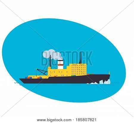 Container Cargo ship isolated on white background, Freight Transportation and Logistic, Shipping, Nautical Vessel. Modern vector illustration isolated on white background.