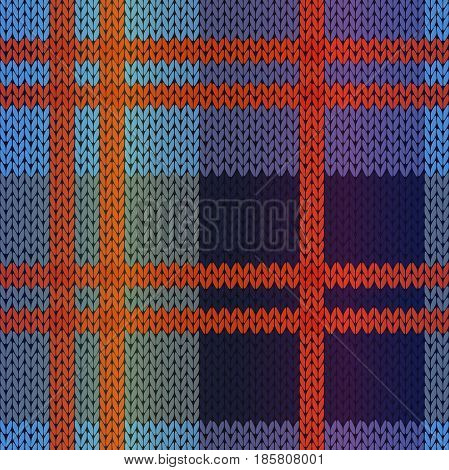Seamless knitting vector pattern as a fabric texture mainly in red blue and violet hues