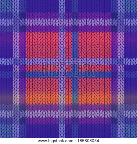 Seamless knitting vector pattern as a fabric texture mainly in blue violet and pink hues