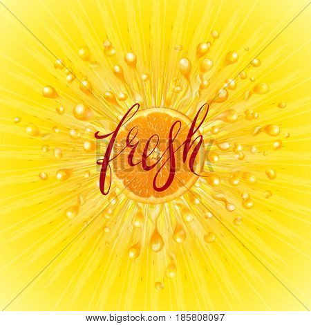 Fresh. A splash of juice with orange. Scatter spray from falling into the water. Fresh word hand lettering. The raster version.