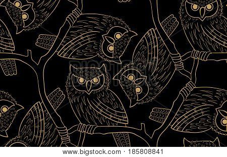 Big-eared owl. A seamless pattern in the handdrawn style. Black and gold graphics Texture for scrapbooking, wrapping paper, textiles, web page, wallpapers, surface design, fashion