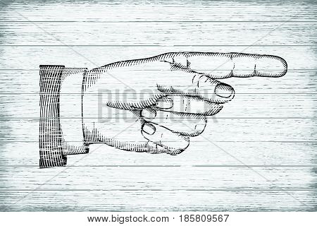 Hand with index finger on wooden background. Retro style illustration. White grunge wooden planks