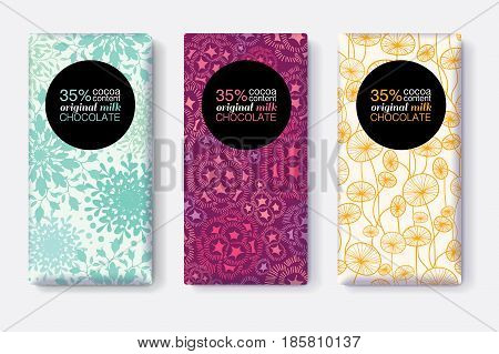 Vector Set Of Chocolate Bar Package Designs With Modern Pastel Floral Patterns. Circle frame. Editable Packaging Template Collection. Packaging and Surface pattern design.