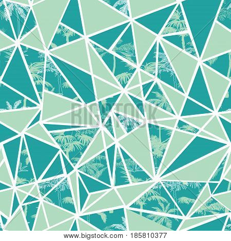 Vector abstract tropical palm trees and triangles seamless repeat pattern design. Great for modern fabric, wallpaper, scrapbooking, giftwrap, packaging projects. Surface pattern design.