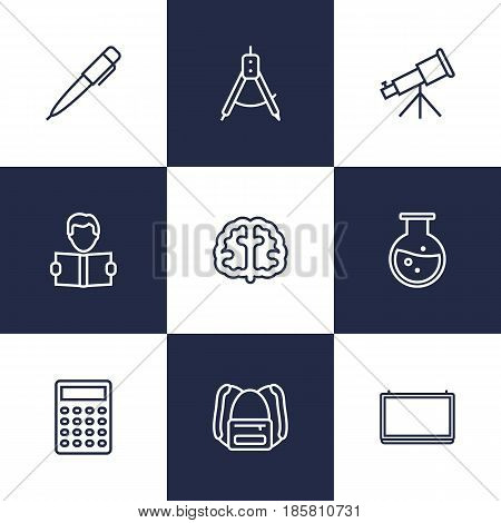 Set Of 9 Studies Outline Icons Set.Collection Of Test Tube, School Board, Learning And Other Elements.
