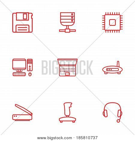 Set Of 9 Laptop Outline Icons Set.Collection Of Laptop, Floppy, PC And Other Elements.