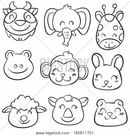 Vector art animal hand draw doodles collection stock