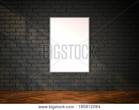 Blank picture frame on the black brickwall. Gallery interior. 3d rendering