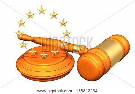 European Union Legal Gavel Concept 3D Illustration