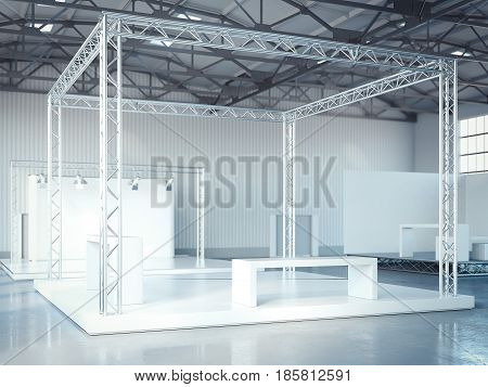 Empty stage with metal framework in modern exhibition interior with bright light. 3d rendering