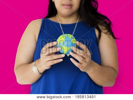 Chubby Woman Holding Earth Symbol