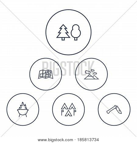 Set Of 6 Camping Outline Icons Set.Collection Of Encampment, Penknife, Grill And Other Elements.