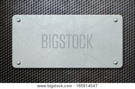 metal plaque over comb background 3d illustration