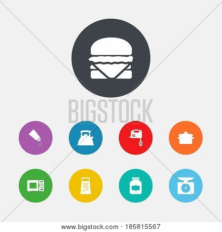 Set Of 9 Cooking Icons Set.Collection Of Electronic Oven, Saucepan, Jar And Other Elements.