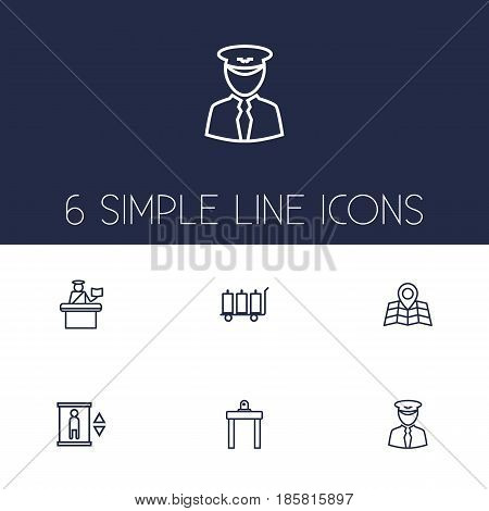 Set Of 6 Land Outline Icons Set.Collection Of Pilot, Passport Controller, Map And Other Elements.