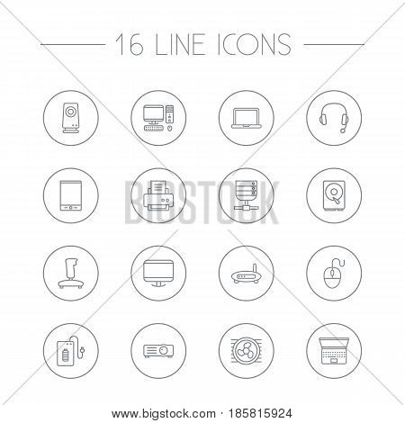 Set Of 16 Computer Outline Icons Set.Collection Of Cooler, Hdd, Gamepad And Other Elements.