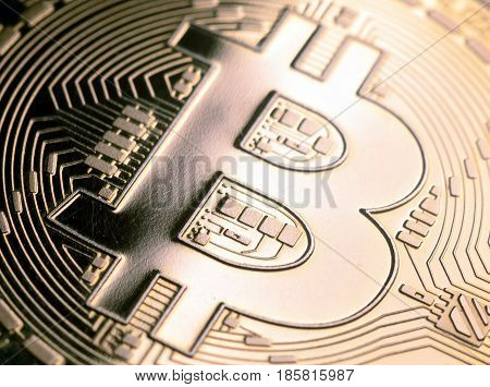 golden  Bitcoin currency close up. business concept.