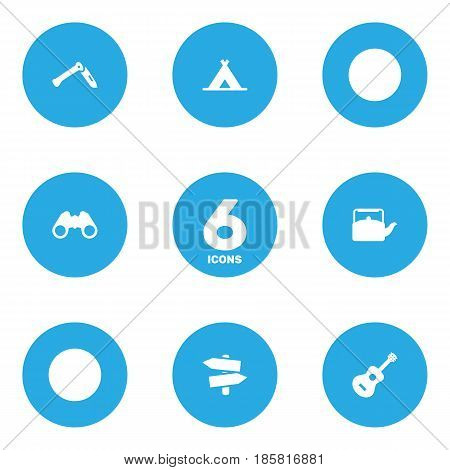 Set Of 6 Picnic Icons Set.Collection Of Kettle, Signpost, Jackknife And Other Elements.