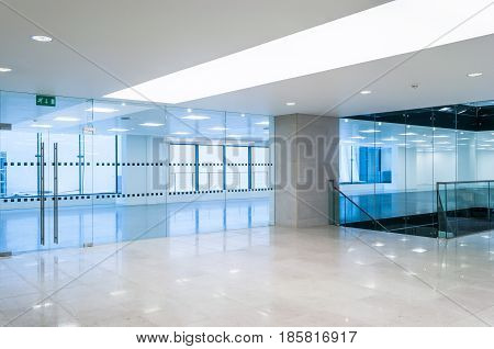 Wide view of empty office space interior