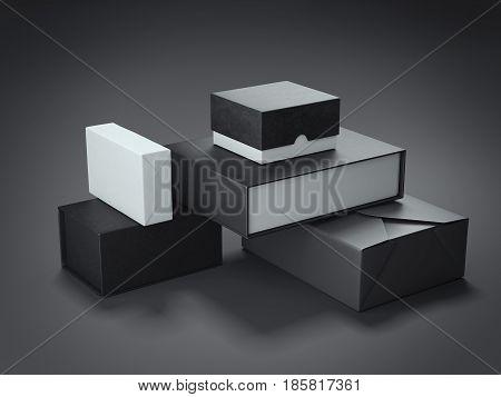 Different types of black boxes in dark studio. 3d rendering