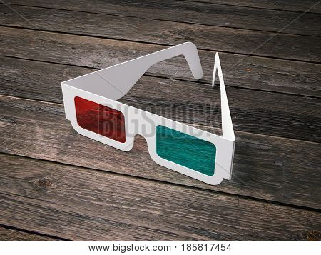 Anaglyph stereo glasses for cinema on wooden floor. 3d rendering