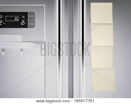 Yellow sticky notes on metal fridge. 3d rendering