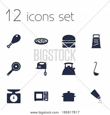 Set Of 12 Cooking Icons Set.Collection Of Blender, Scoop, Pepperoni And Other Elements.