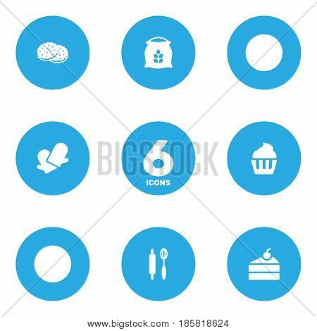 Set Of 6  Icons Set.Collection Of Shortcake, Sweetmeat, Whisk And Other Elements.