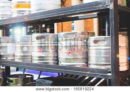 Kegs on shelf at a brewery or pub & restaurant