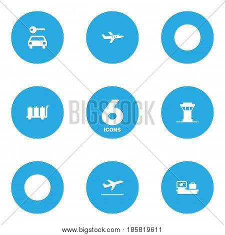 Set Of 6 Land Icons Set.Collection Of Carriage, Air Traffic Controller, Aircraft And Other Elements.