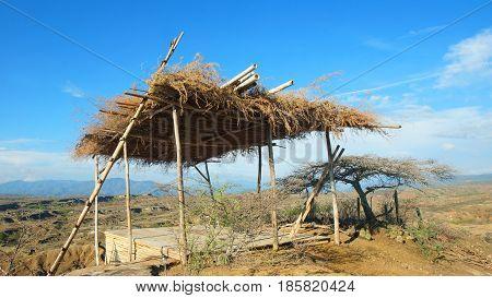 Rustic construction in the Desierto de la Tatacoa (Tatacoa Desert) in Villavieja, Huila / Colombia
