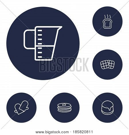 Set Of 6 Bakery Outline Icons Set.Collection Of Measuring Cup, Toast, Gloves And Other Elements.