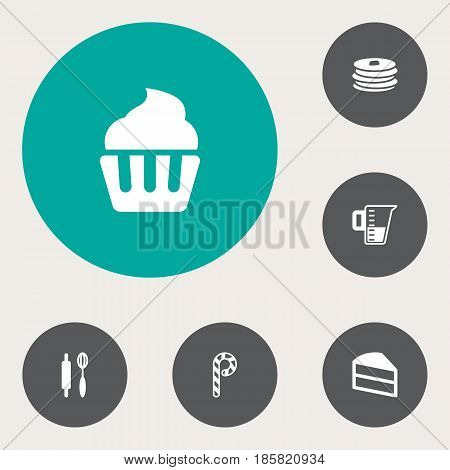 Set Of 6 Bakery Icons Set.Collection Of Measurement, Pastry, Crepe And Other Elements.