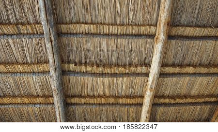 Rustic thatched roof background on wooden log structure